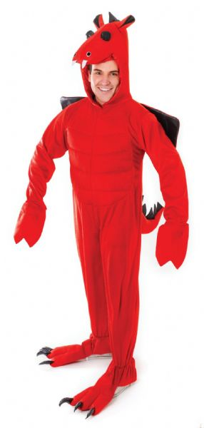Adults Red Dragon Costume Welsh Wales Animal St George Fancy Dress Outfit